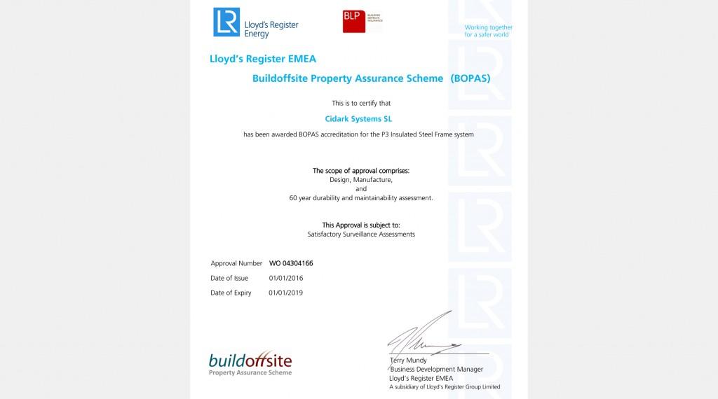 Cidark BOPAS Certificate